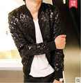 2016 men costume black jacket outwear Slim young leopard casual coat dance performance dress show party nightclub bar DJ DS