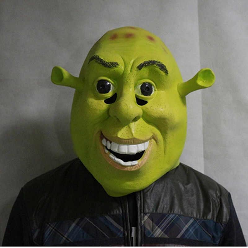 """Хэллоуин реквизит для взрослых уход за кожей лица маски """"Шрек"""" латекс Маскарад День рождения резиновые зеленый Косплэй маска"""