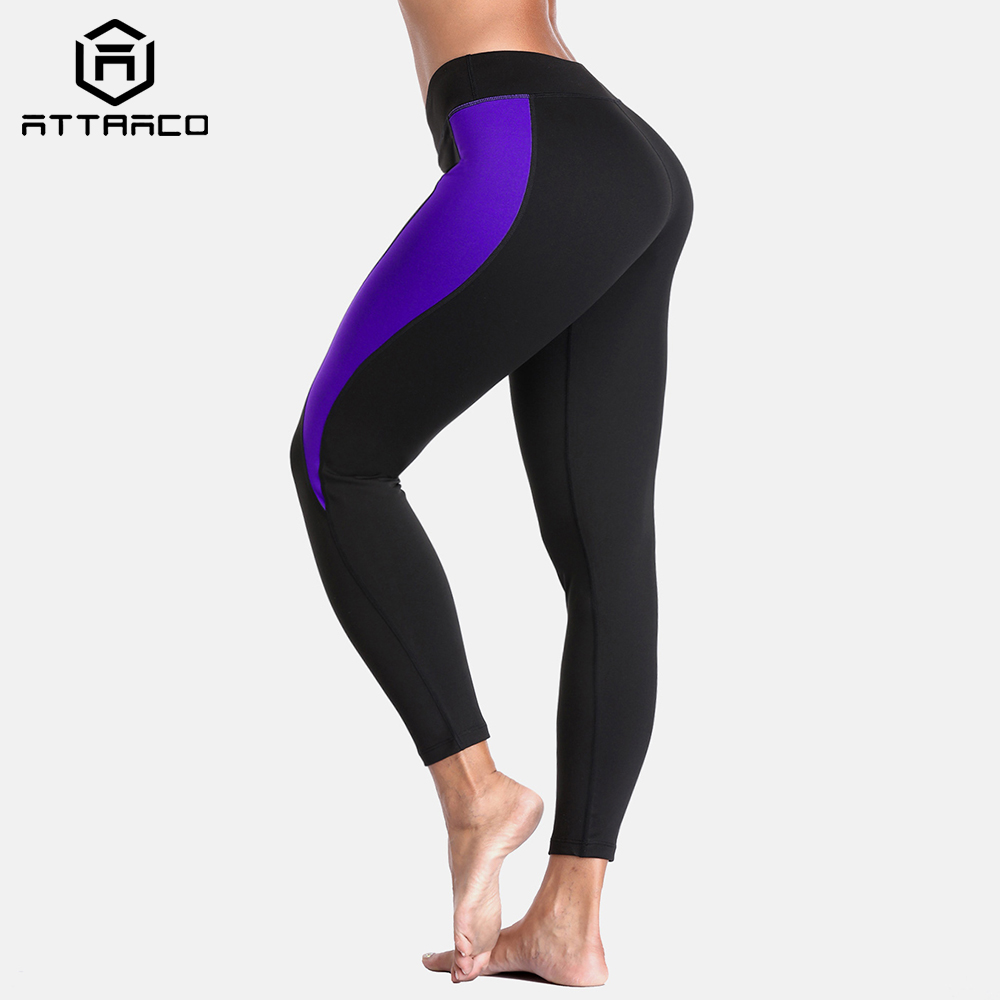 Attraco Women Yoga Pants Slim Sports Gym Fitness Elastic Trousers Running Patchwork Sport Wear