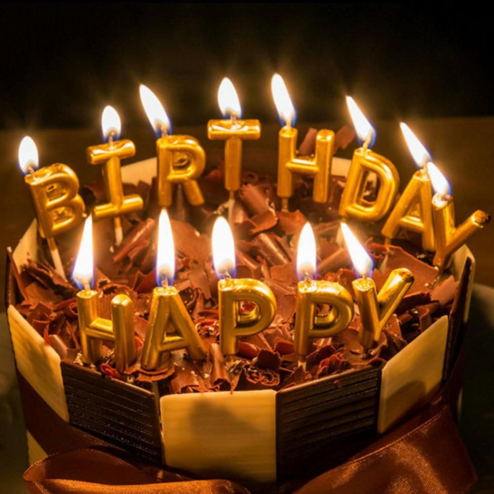 Fabulous New Gold Color Birthday Cake Candles Decorations Happy Birthday Personalised Birthday Cards Veneteletsinfo