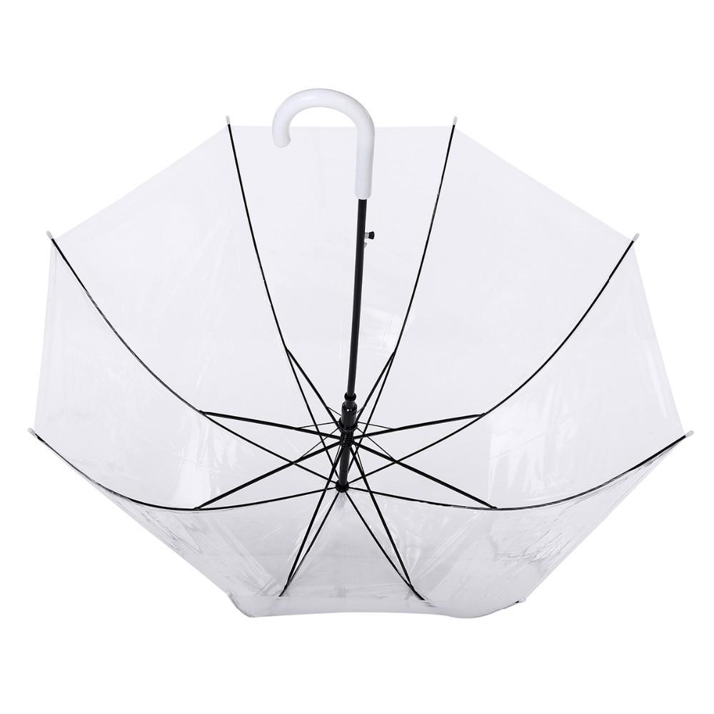 ZTPlastic Transparent Umbrella Girl Women Long Handle Rain and Sun Umbrella Clear Semi-Automatic Hanging Mushroom JJ-FKYS15-