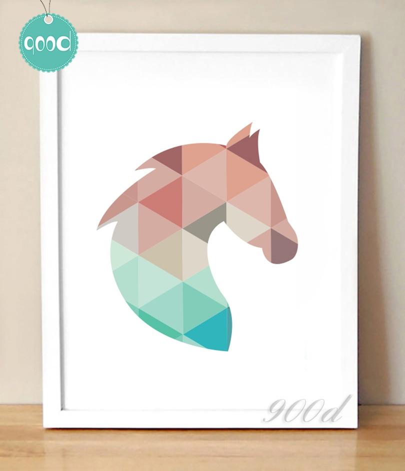 Buy Geometric Horse Head Canvas Art Print: painting geometric patterns on walls