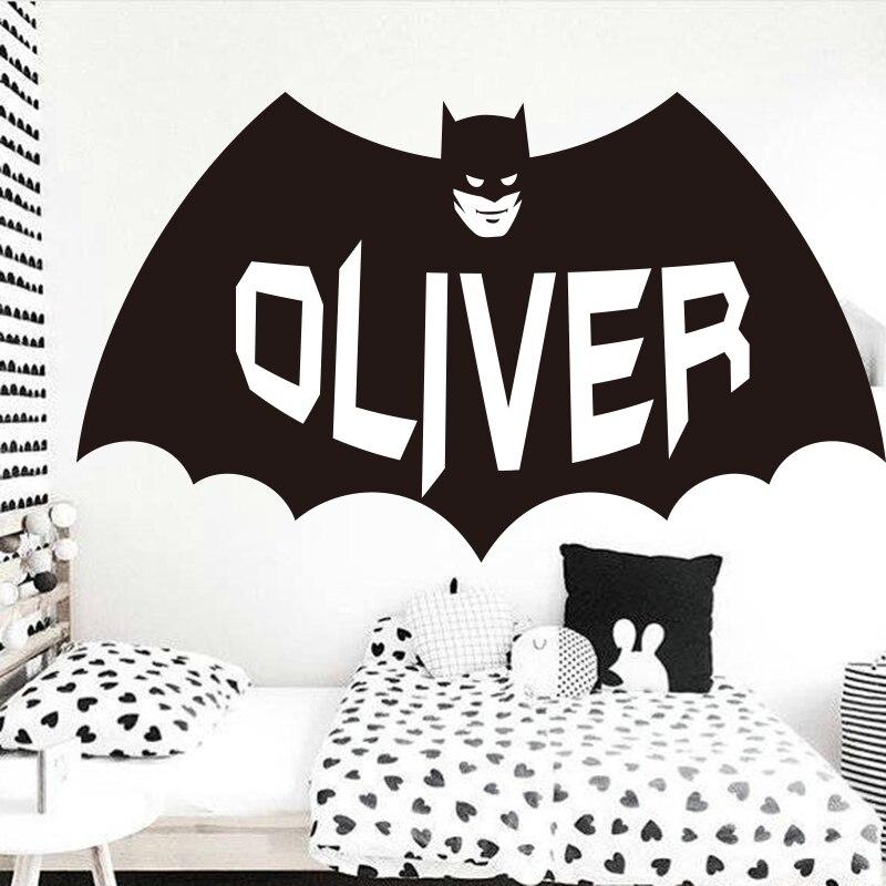 Custom Name Batman Wall Sticker Boys Room Personalized ...