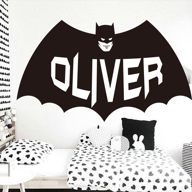 Custom Name Batman Wall Sticker Boys Room Personalized Batman Wall ...