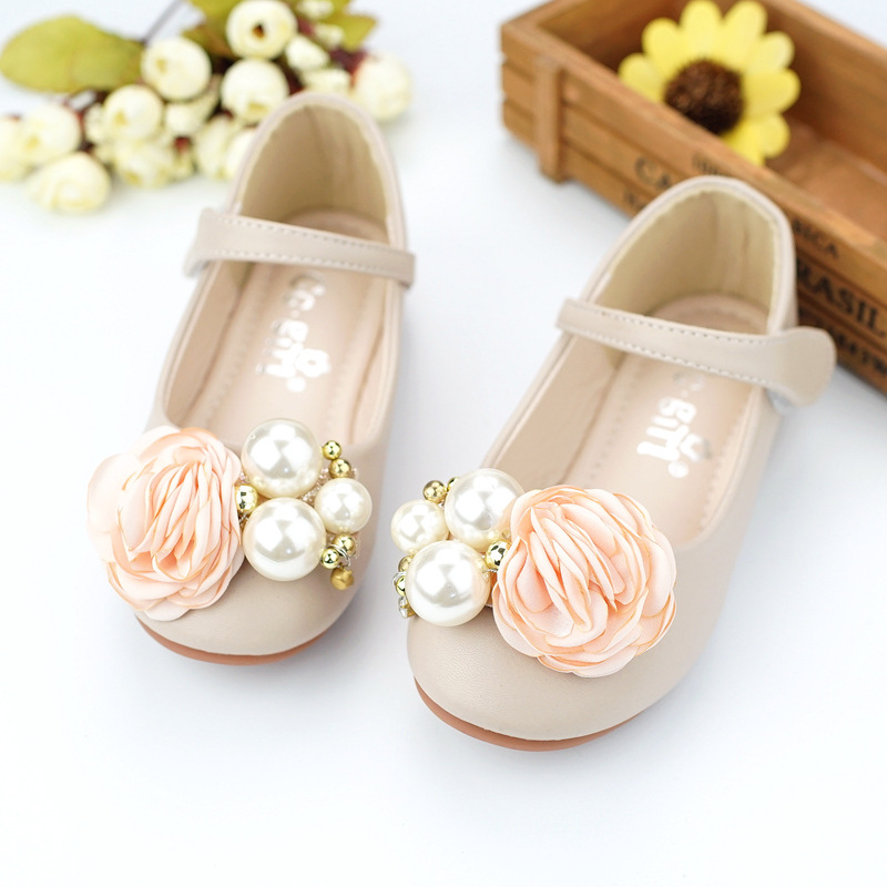 2018 New Spring Children Shoes for Girls Princess Party Leather Shoes Flower Girl Pearl Shoes Kids Bowtie Dress Shoes