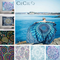 Background Cloth Mandala Tapestry Beach Towel Sunblock Round Bikini Cover Up Blanket bedroom Tapestry Wall hanging cloth