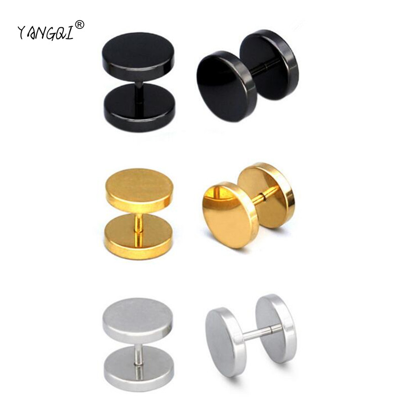 d46594fe55bda 1 Pair Black Round Circle Titanium Steel Men's Stud Earrings Punk ...
