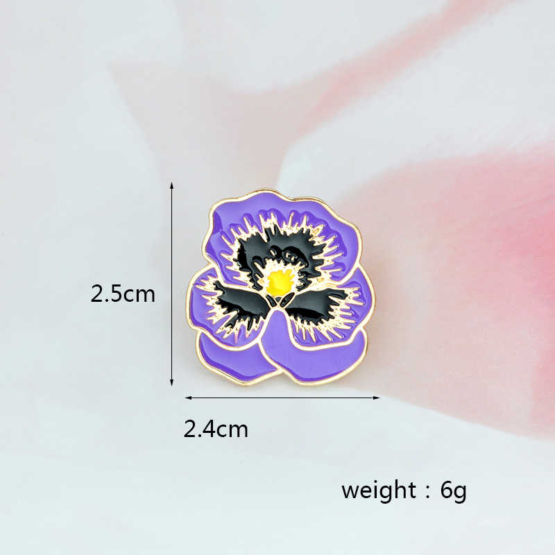 Roxo flor pino moda dos desenhos animados metal esmalte ícone broche botão jaquetas mochila distintivo corsage jóias presente para homens