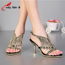 Luxury Brand Sexy High Heels Shoes 2016 Summer New Sandals Diamond Female Genuine Leather Shoes Party