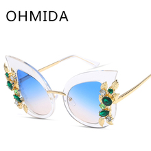 OHMIDA Venta Caliente de Gran Tamaño de Las Mujeres UV400 gafas de Sol Del Ojo de Gato de Lujo marca de Diamantes Vintage Gafas de Sol Para Los Hombres gafas de sol hombre