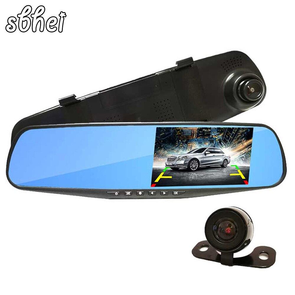Dual Camera Car Dvr Camera Rearview Mirror mirror auto dvrs Dash Cam Hd 1080P 4.3 140 Degree High Quality Free Shipping