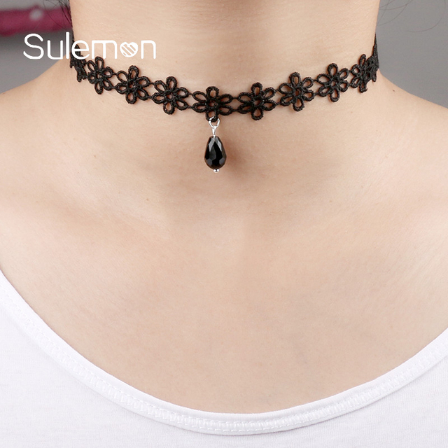 Glass Pendant Black Lace Choker Necklace Vintage Sexy Neck Band Chokers Necklaces Women Girl Trendy Punk Jewellery CN20-2