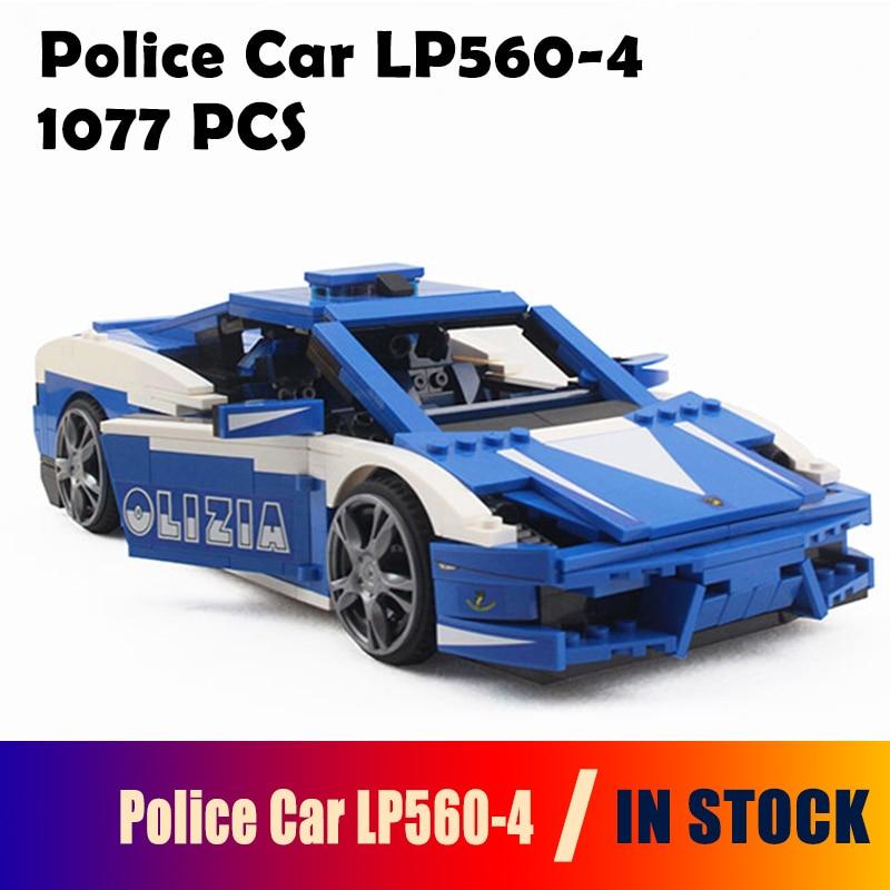 Modèle blocs de construction Compatible course la voiture de Police Lamborghiki LP560-4 8214 policier jouets éducatifs pour les enfants