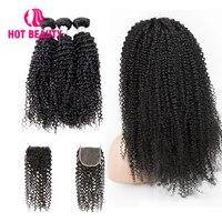 Горячие Красота волос Бесплатная Пользовательские парик Вьющиеся Связки с закрытием Бразильский переплетения человеческих волос Расшире