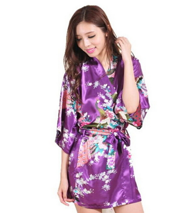 MYPF 2017 Fashion Women Peacock Kimono Japanese style Bath Robe Nightgown Gown Yukata Bathrobe Sleepwear