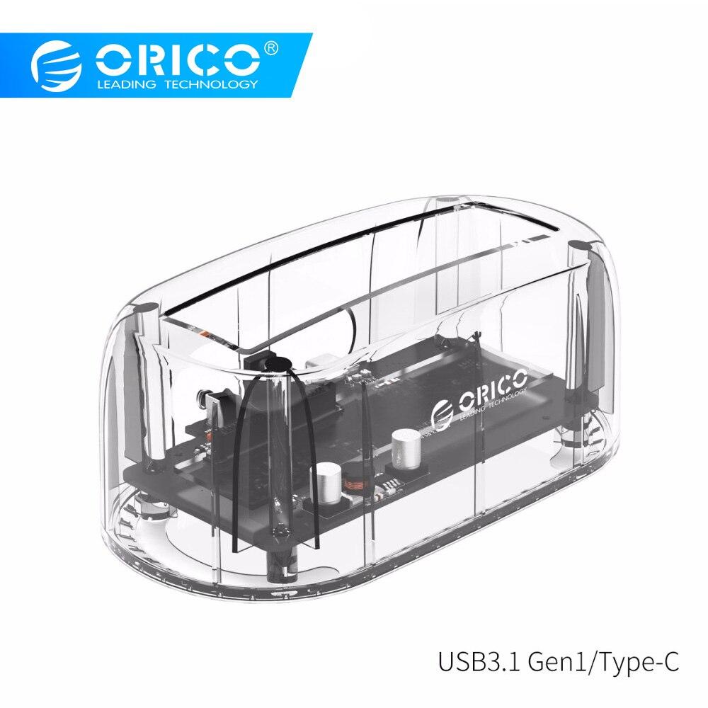 ORICO Transparent Station d'accueil pour DISQUE DUR USB3.1 Gen2 10gbps Type-c 2.5 3.5 Boîtier de Disque dur Externe HDD Cas support pour disque dur