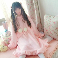Winter Japanese Cute Nightgowns Dress For Women Pink Lolita Girl Fur Ball Cat Hooded Lovely Female Autumn White Kawaii Dresses