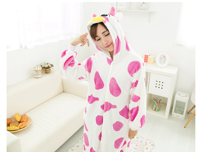 Flannelette male and female cartoon conjoined pink cow animal home in the autumn and winter thickening pair of pajamas.