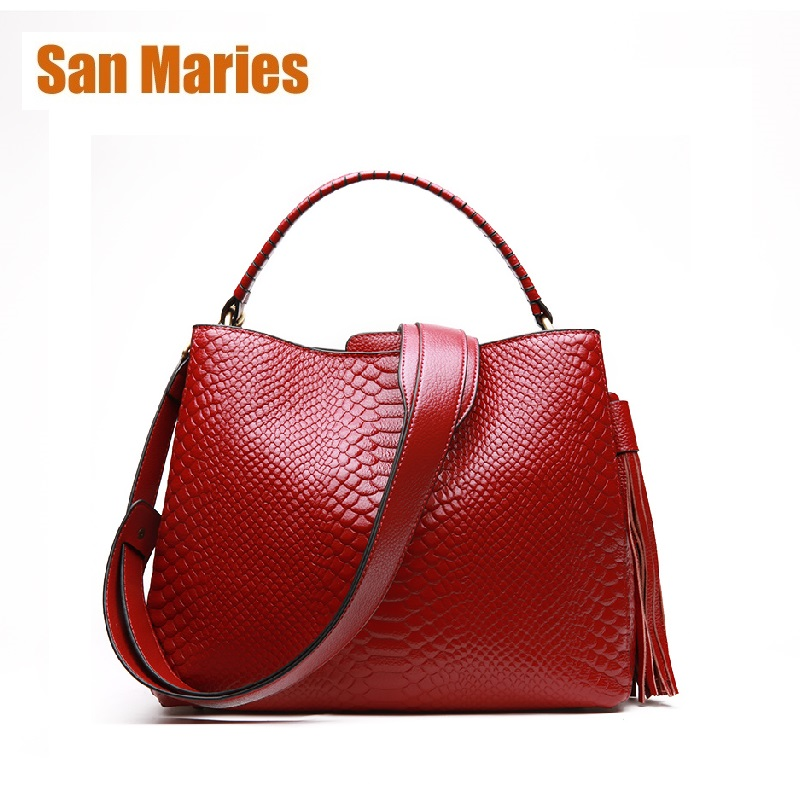 San Maries Authentic Women Serpentine Bag with Tassel Genuine Leather Women Handbag Hot Selling Tote Women Bag Large Brand BagsSan Maries Authentic Women Serpentine Bag with Tassel Genuine Leather Women Handbag Hot Selling Tote Women Bag Large Brand Bags