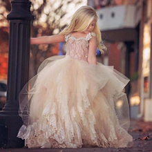 2016 champagne lace ball gown for Flower Girl Dress for wedding spring kids prom dresses  with beading blush pink vestido longo