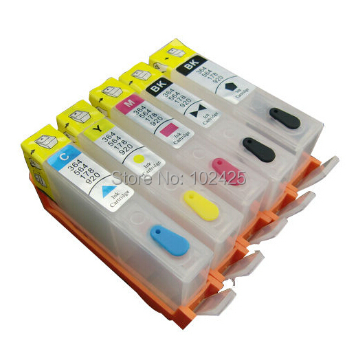 5PK For HP 564 Refillable Cartridge With Chip HP564 For HP Photosmart C5380 C5460 C6300 C5340 C6350 C6380 C309A B8550 D5460