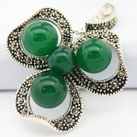 Lady S 925 Silver Jewelry Natural Green Jade Beads Flower Marcasite Pendant 47x37mm