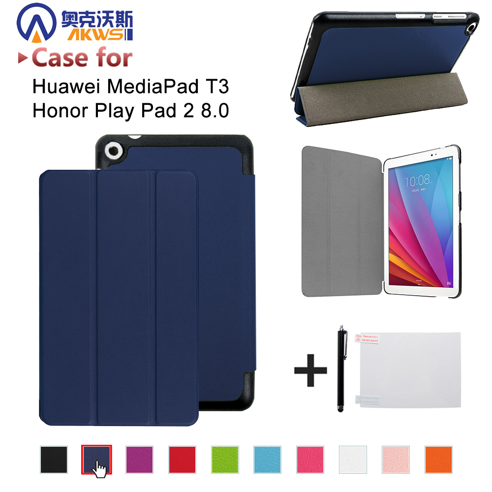 Smart protective PU leather cover case for Huawei MediaPad T3 8.0 KOB-L09 KOB-W09 for 8'' Tablet PC for Honor Play Pad 2 8.0 folio slim cover case for huawei mediapad t3 7 0 bg2 w09 tablet for honor play pad 2 7 0 protective cover skin free gift