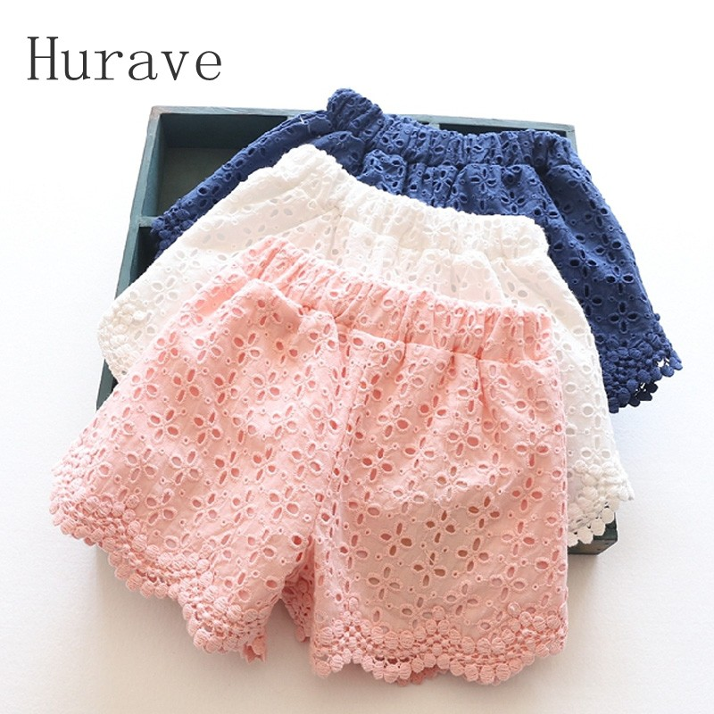 Hurave New 2017 Summer Fashion Baby Girls Shorts Lace Solid Toddler Girls Pants Cotton Girl Clothes