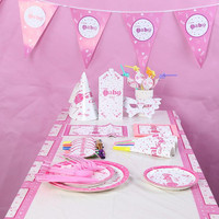 2018 Pink Baby Girl Disposable Theme Birthday Party Decoration Paper Tableware Set Girls Princess Event Party Christmas New Year