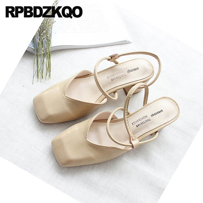 ... Sandals Chunky Toe Summer Block Shoes Slingback Closed Women Female  Cheap Designer Strap Ladies Square Fashion ... bbf19b9ca3b6