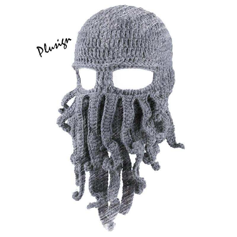 Autunno Inverno Cappello Tessuti A Mano Crochet Calamari Cappello Di Lana Divertente Maschera Di Cartone Animato Uomo Octopus Cap Folta Barba Eccellente Per Santa Halloween