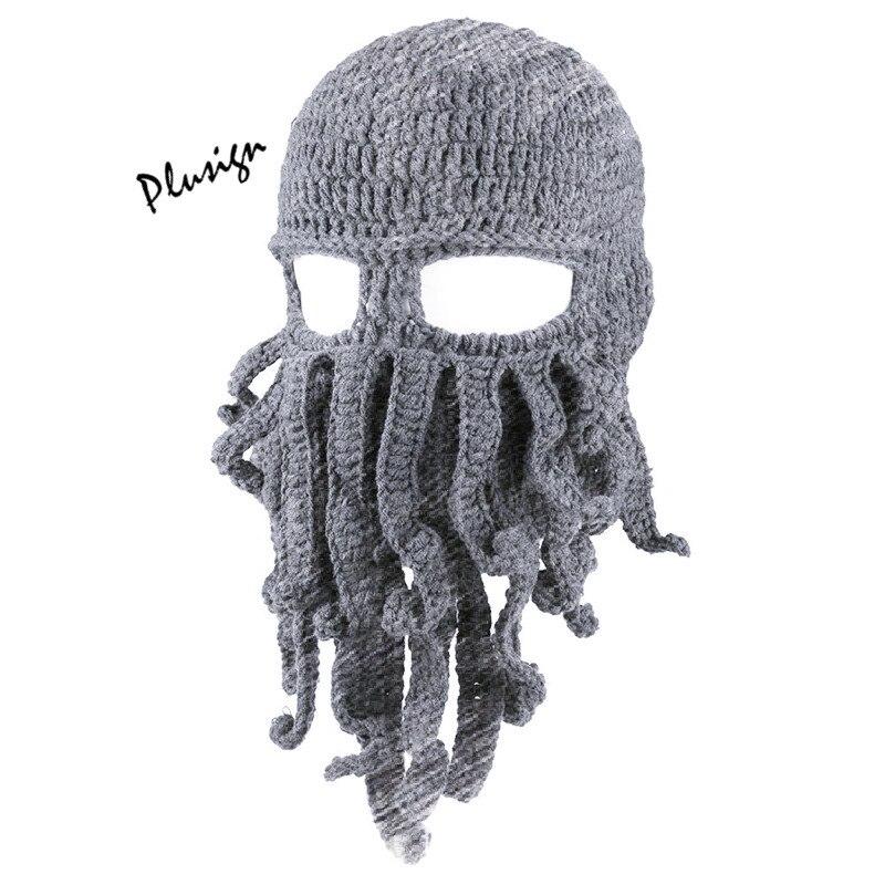 Fall Winter Hat Hand Woven Crochet Squid Wool Hat Funny Cartoon Mask Men Octopus Cap Bushy