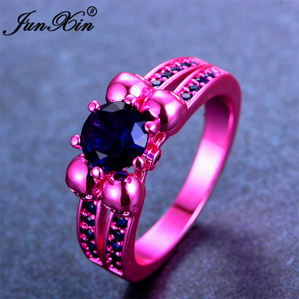 JUNXIN Retro Male Female Blue Skull Ring Fashion Pink Gold Filled ...