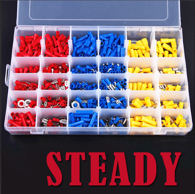 720Pcs Assorted Insulated Electrical Wire Terminals Crimp Connector Spade Set Red Yellow Blue цена