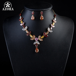 Image 4 - AZORA Gold Color Multicolour Stellux Austrian Crystal Water Drop Necklace and Earring Set TG0026
