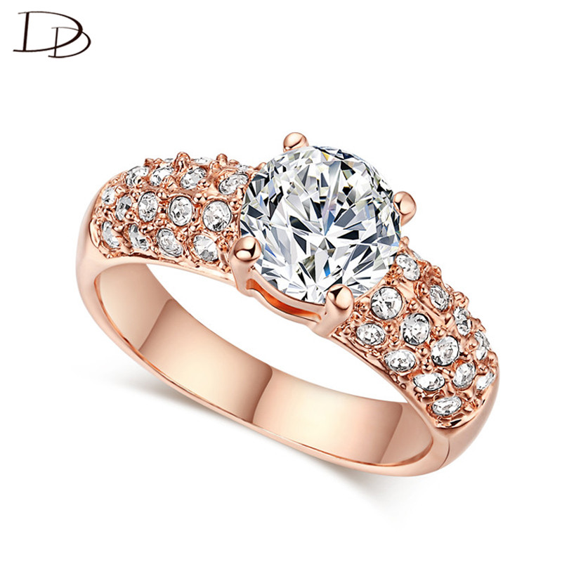 exquisite rose gold color rings for women chic aaa zircon jewelry wedding engagement jewellery bague anillos wholesale KR003