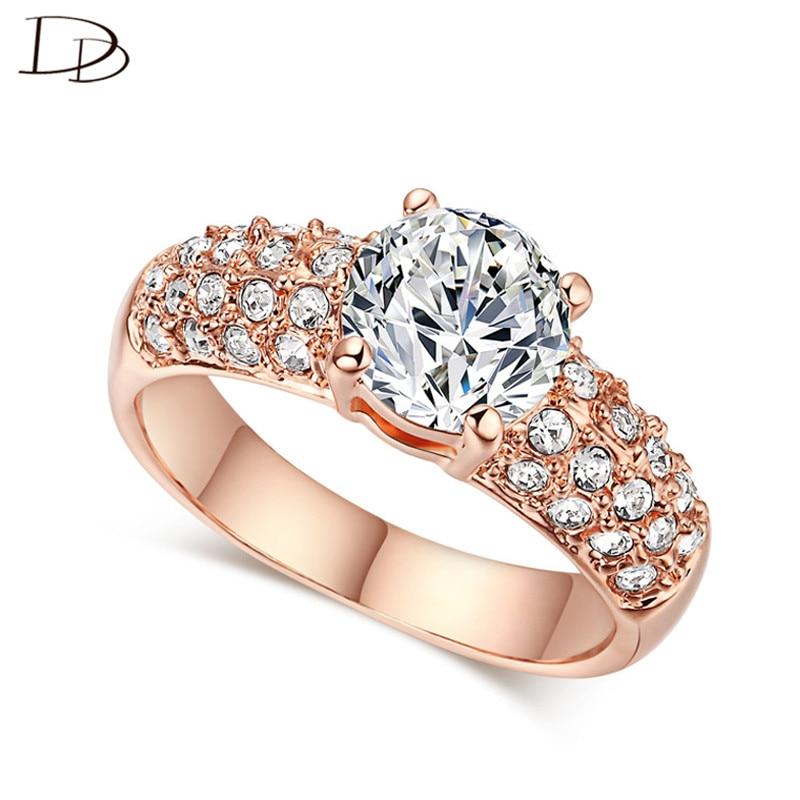 exquisitos anillos de color oro rosa para mujer chic aaa joyería de circón joyería de compromiso de boda bague anillos al por mayor KR003