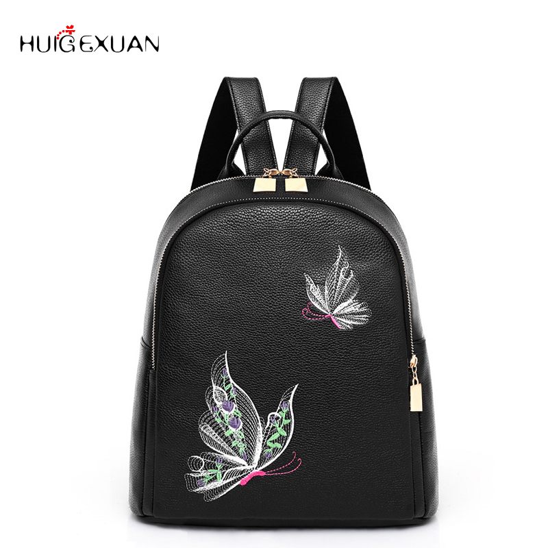New Women Pu Leather Backpack Women Embroidery Butterfly School Bags For Teenage Girls Brand Ladies Backpacks Bag Sac A Dos