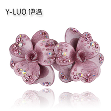 Women Hair Accessories 2017 Rhinestone Hair Clip Twins Flower Hair Barrette Perfect Girls Gift For Gift(China)