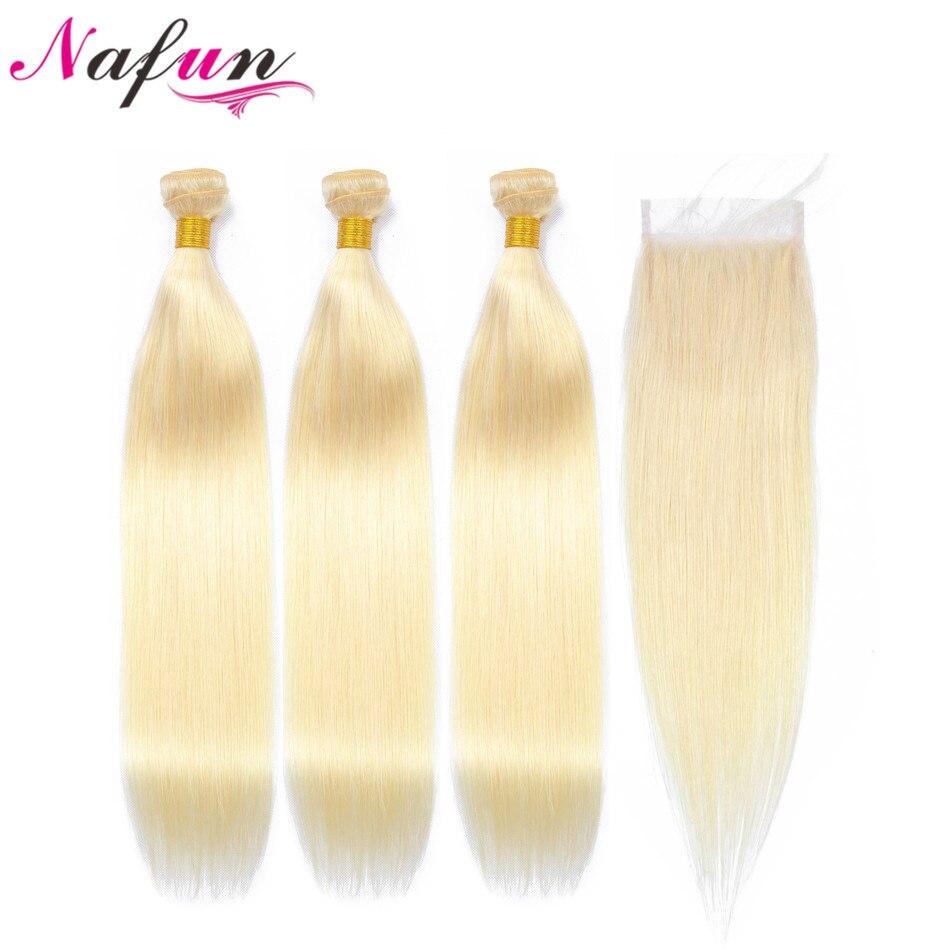 NAFUN Hair 613 Bundles With Closure Non-Remy Hair Blonde Human Hair Malaysian Straight Hair Bundles With Lace Closure