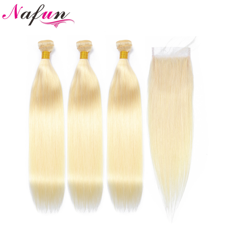NAFUN Hair 613 bundles With Closure Non-Remy Hair Blonde Human Hair Malaysian Straight Hair Bundles With Lace Closure image