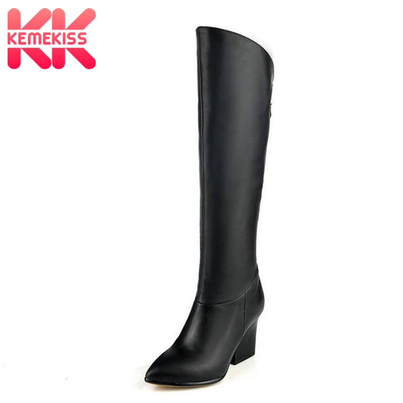KemeKiss women real leather high heels over knee boots long boot winter warm botas militares footwear shoes R7494 size 33-40