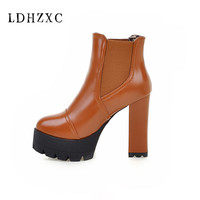 LDHZXC Ankle boots for women winter shoes high heels boots plus velvet botas femininas 2018 new leather boots ladies shoes woman