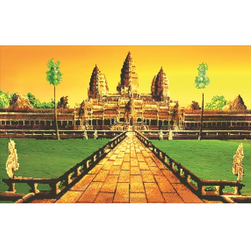 80*50 DIY 5D алмазов картина стразами мозаика Вышивка крестом храм мост Costura ручной работы, украшения дома 1371