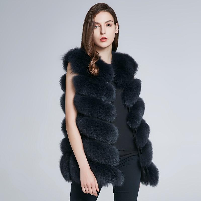 JKP hiver nouveau naturel fourrure de renard gilet veste femmes longue section gilet fourrure manteau H6X-65C