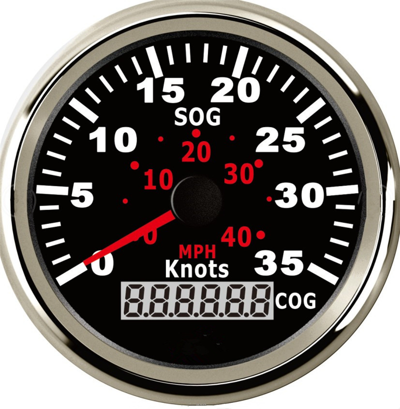 1шт 85 мм цифровой GPS спидометр авто мотоцикл тюнинг датчики одометров 0-35knots 0-40миль / ч скорость mileometers черный
