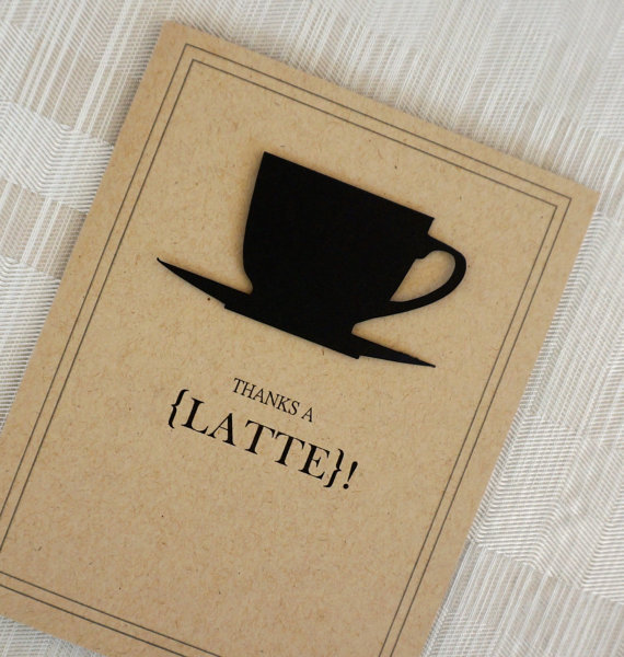Free Shipping Funny Thank You Card Vintage Coffee Kraft