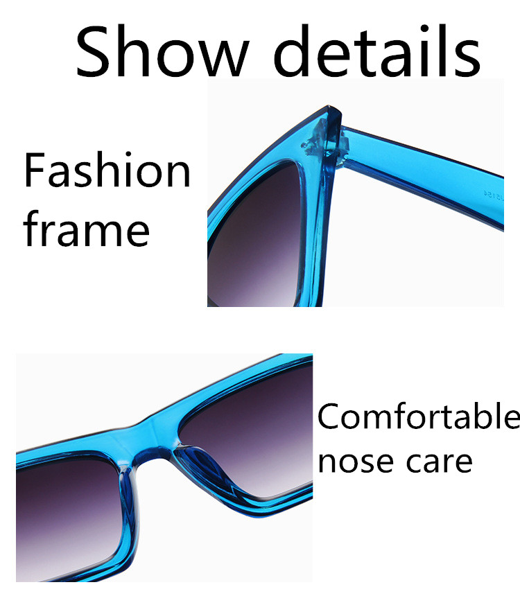 ASUOP2018 New ladies retro cat eye glasses high-end brand travel fashion men's sunglasses sports square UV400 transparent sunglasses (4)