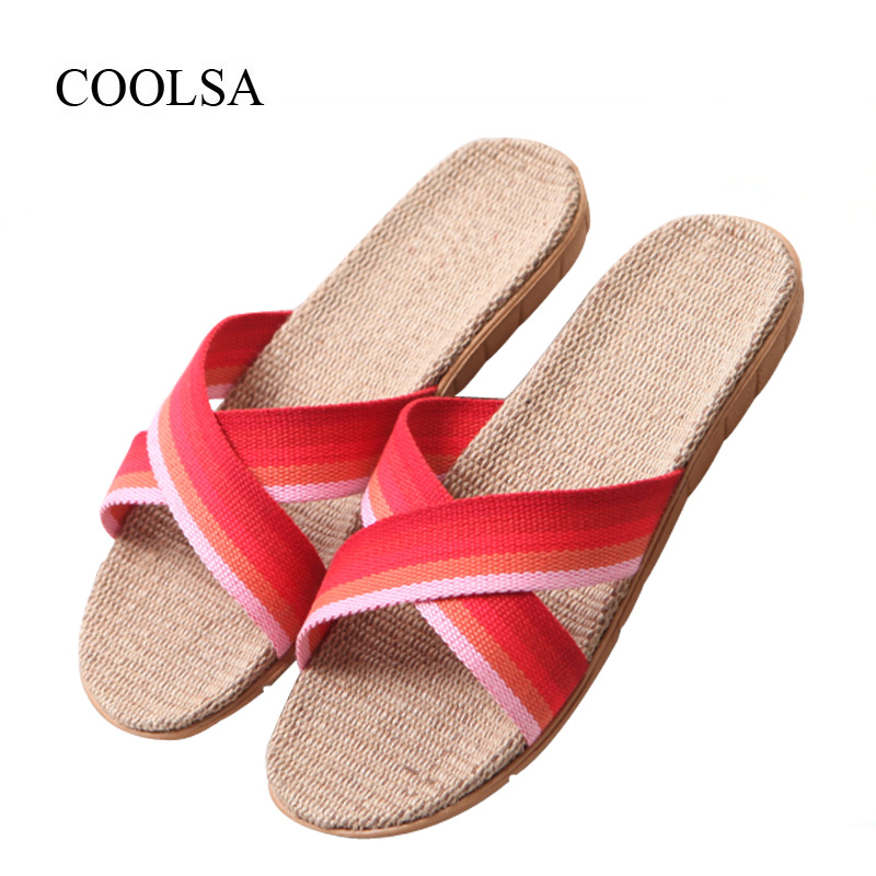 COOLSA Women Summer Cross-belt Gradient Color Linen Slippers Flat EVA Soles Flax Non-slip Indoor Flax Slippers Beach Flip Flops coolsa women s summer flat non slip linen slippers indoor breathable flip flops women s brand stripe flax slippers women slides