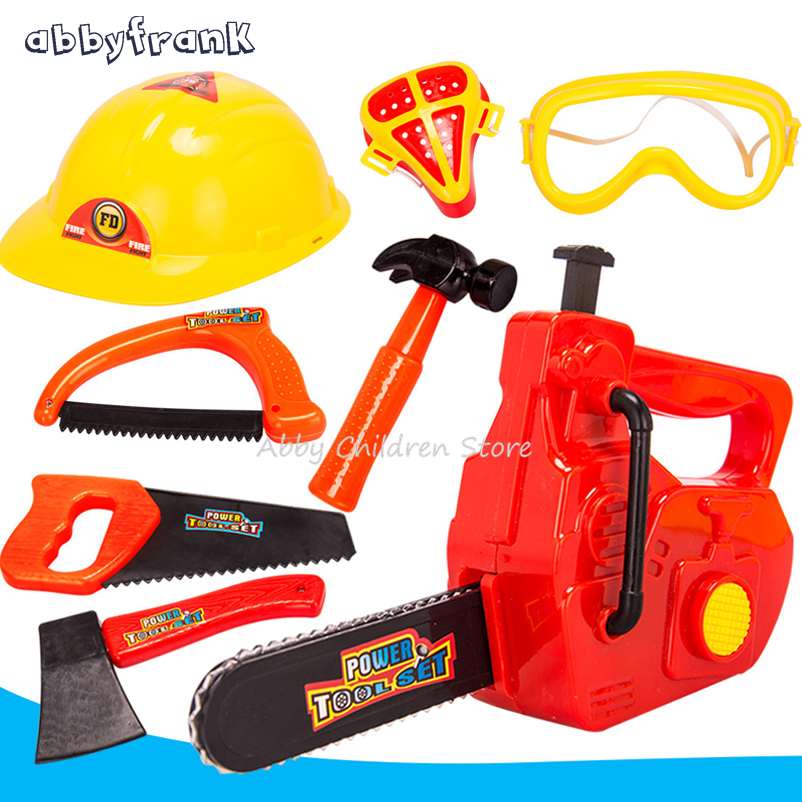 Abbyfrank Simulation Repair Tool Toy Plastic Play House Toy Modeling Kids Tool Set Chainsaw Helmets Axes Hammers Saws Protective mr froger carcharodon megalodon model giant tooth shark sphyrna aquatic creatures wild animals zoo modeling plastic sea lift toy